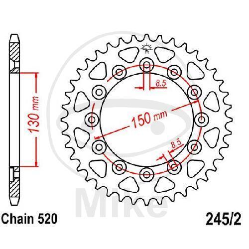 Koyo Kettenrad 53Z Teilung 520 Innendurchmesser 130 Lochkreis 150 JTR245//2.53
