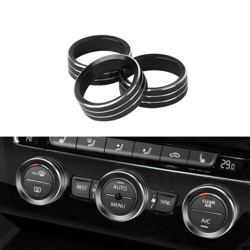 Black Aluminum AC Climate Control Knob Ring Covers For 2018-19 Volkswagen Atlas