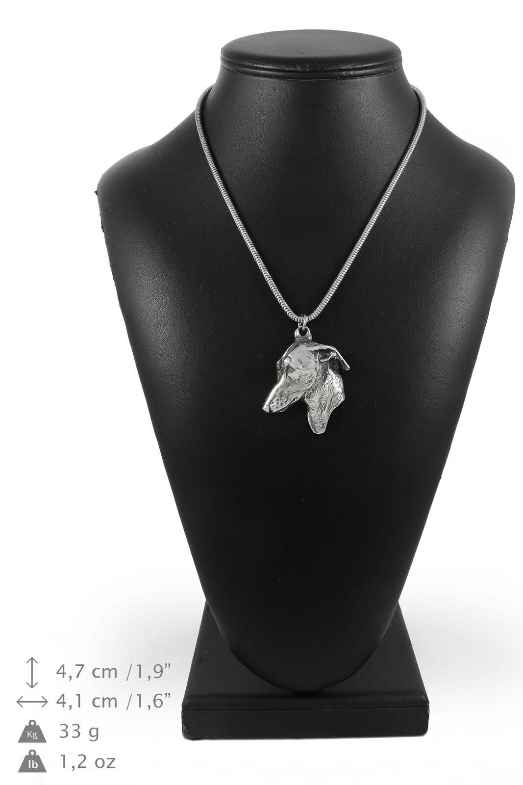 Petit lévrier italien - silver plaqué collier sur une cordon en silver ArtDog FR
