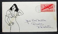 US Hand Drawn Sexy Patriotic Cover Norfolk 1943 6c Airmail Stamp Brief (I-7353
