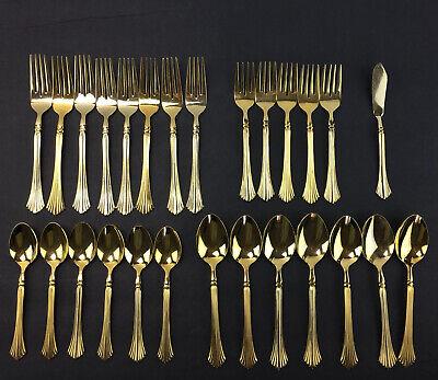 Gold Flatware Silverware Utensils 18Pieces