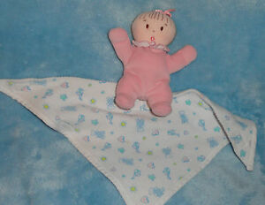 Eden Pink Cloth Baby Doll W Attached Thermal Swaddle Blanket Rattle