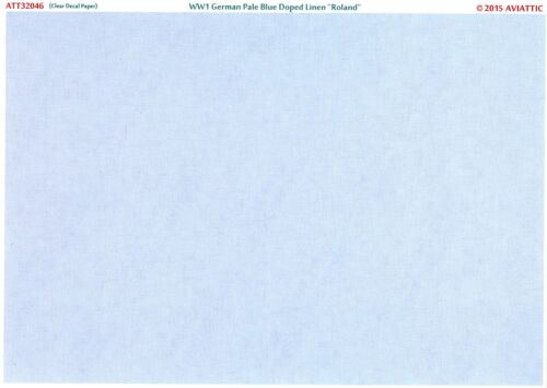 Aviattic Decals 1//32 PALE BLUE DOPED LINEN WWI Roland Aircraft Clear Paper