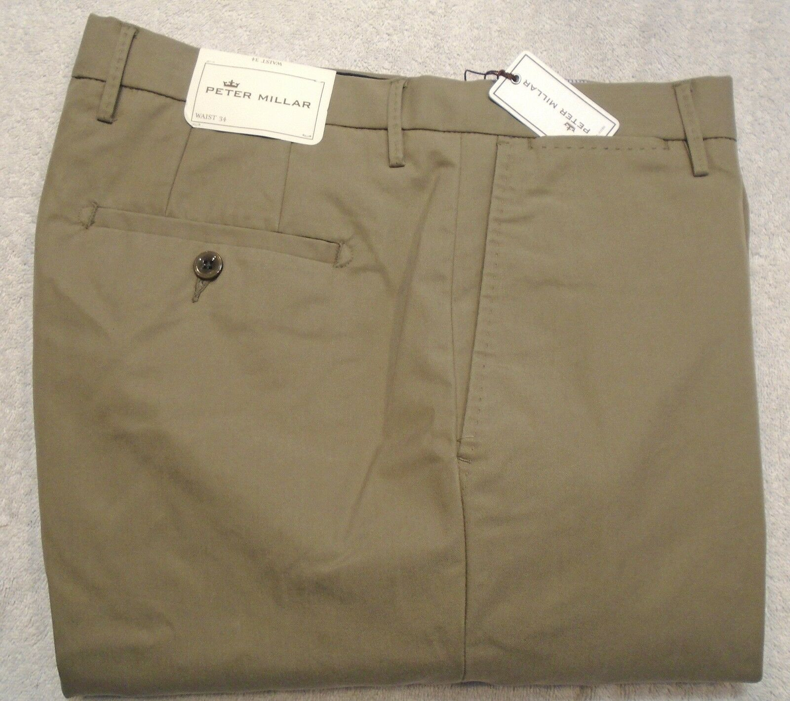 Peter Millar Cotton Blend Performance Fabric Taupe Dress Pants NWT  34 waist