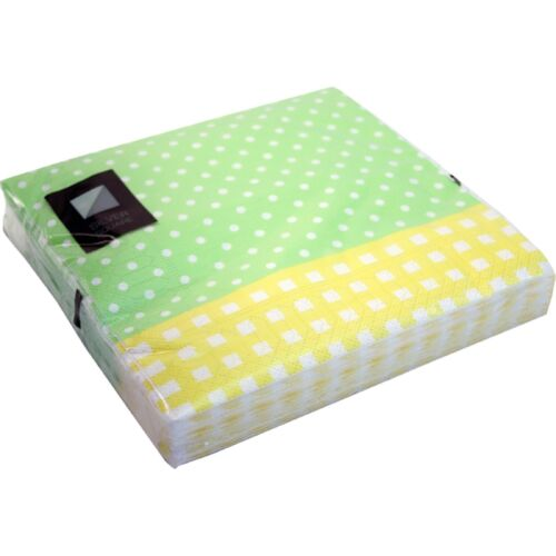 3 Ply Green+Yellow Spots Paper Napkins 33 x 33cm Square Serviette Tableware