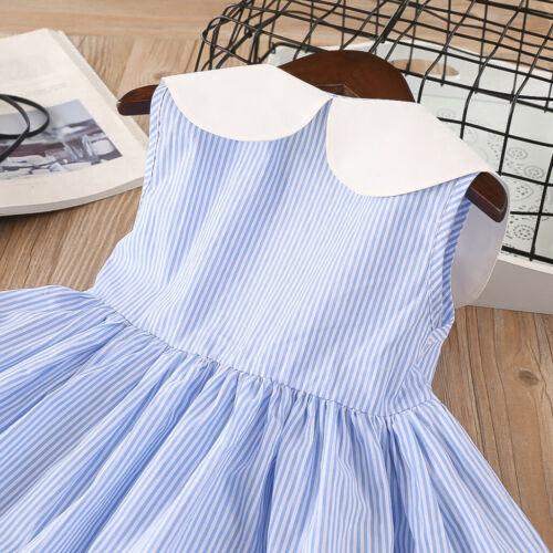NWT Girls Blue Striped Cherry Peter Pan Collar Sleeveless Dress 2T 3T 4T 5T 6