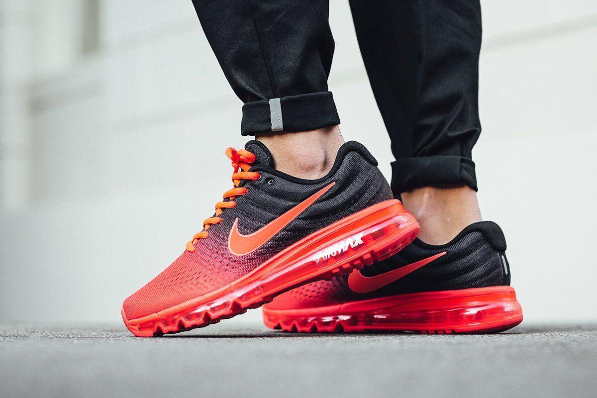 Nike Air Max 2017 Bright Crimson Total Red Black BRED QS Mens 12.5 Running shoes