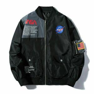 Men-Flight-Heron-Preston-Head-MA1-NASA-Bomber-Cotton-Padded-Coat-Pilot-Jacket