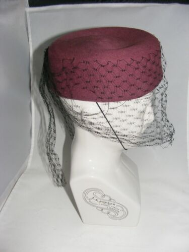 Geo W. Bollman & Co. Peachfelt Wool box Hat Vintage 50s 60s