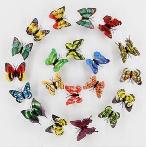 Artificial Butterfly Luminous Fridge Magnet for Home Wedding decoration 10pcs