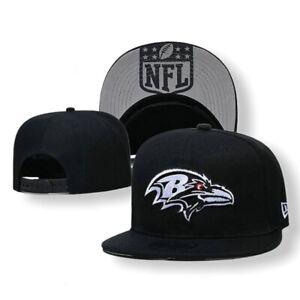 NEW-ERA-9FIFTY-NFL-Baltimore-Ravens-Adjustable-Snapback-Hat-Cap-Black-ADULT