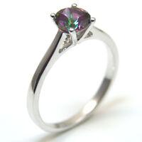 1ct Solitaire Mystic Topaz .925 Silver Rhodium Platinum Engagement Ring