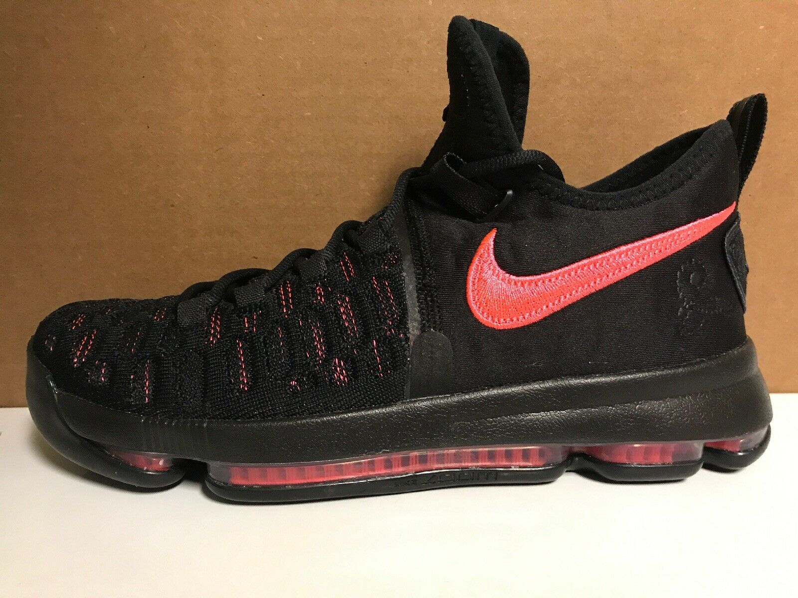 NEW SZ 8.5 Men's NIKE ZOOM KD9 Premium 881796-060 Black Hot Punch Aunt Pearl