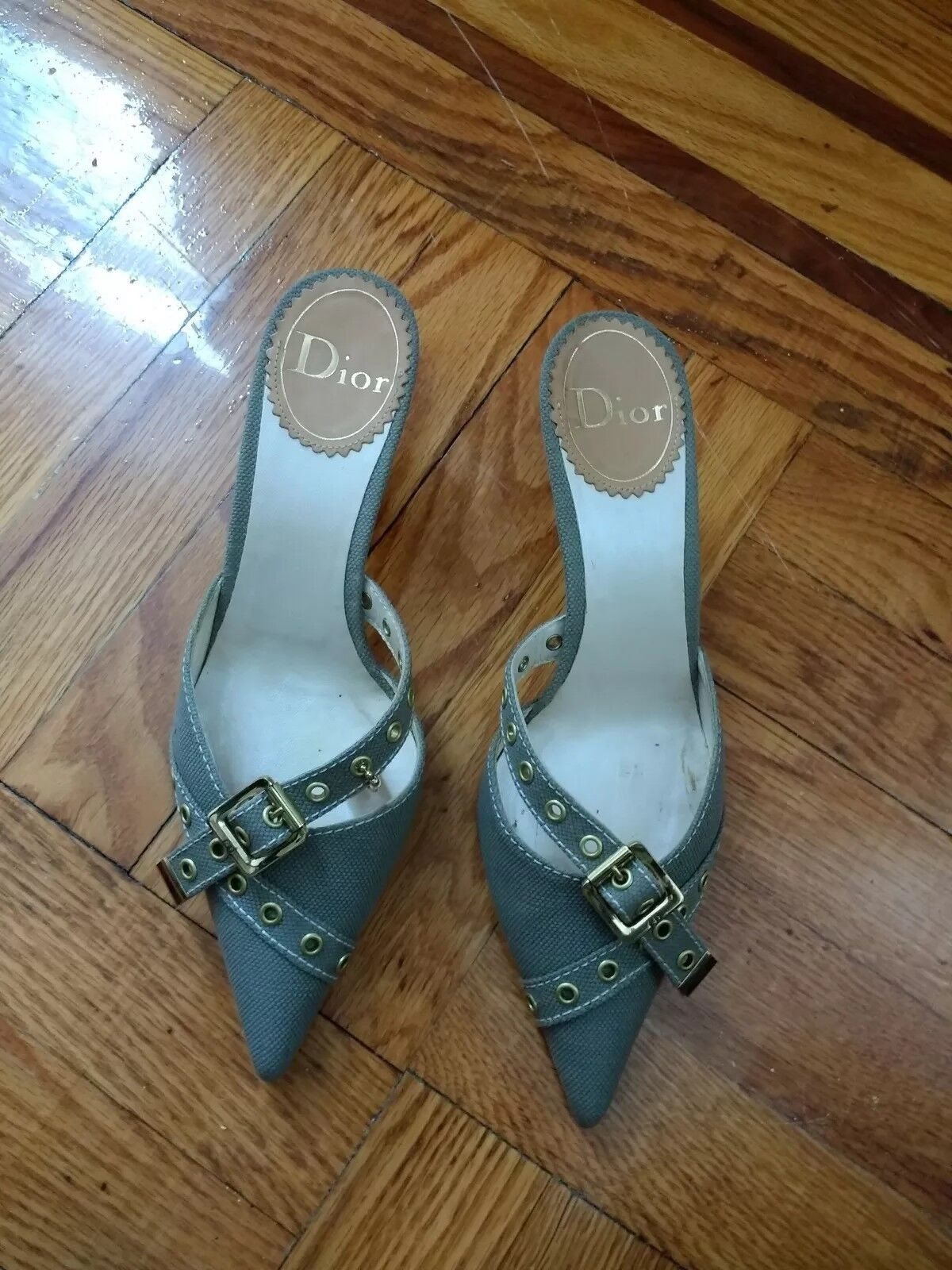 Christian Dior Dimensione 37.5 US 7, Canvas Canvas Canvas Sandals W Chained Logo 3f7742