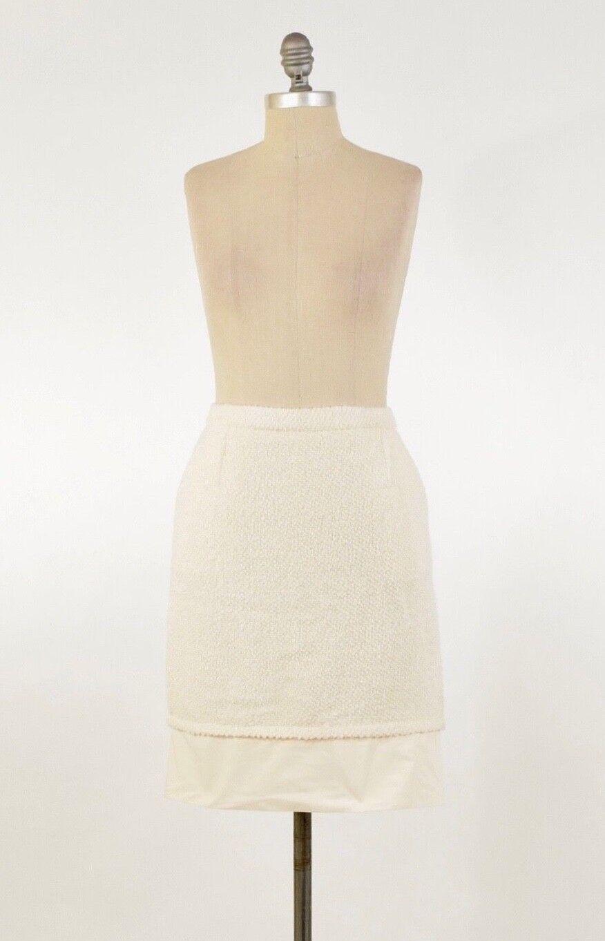NWT BCBG Max Azria JADEN Cream-colord Textured Wool Tweed Pencil Skirt 6