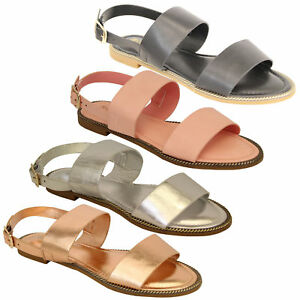 Ladies-Flat-Sandals-Slip-On-Womens-Open-Toe-Shoes-Buckle-Fashion-Wedding-Summer