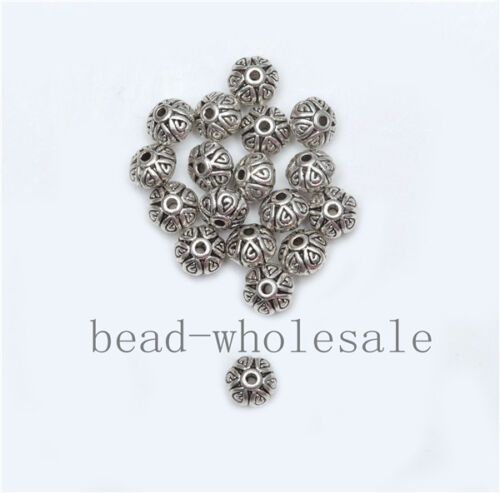 Wholesale 50//100pcs Silver Plated Loose Spacer Beads Charms Jewelry Making DIY