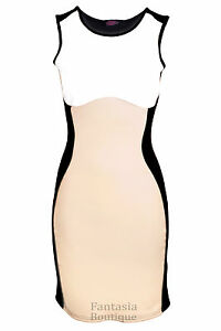 Womens-Celeb-Towie-Essex-Slimming-Effect-Nude-Contrast-Bodycon-Ladies-Dress