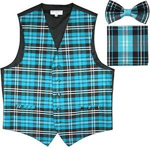 New Men/'s Plaid Tuxedo Vest Waistcoat /& Bow tie Set Burgundy prom formal party