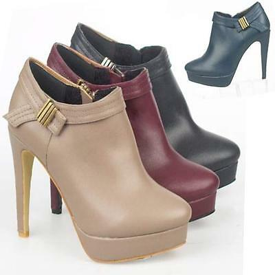 LADIES HIGH HEELS SHOES WOMEN SMART SEXY BIKER FASHION PLATFORM ANKLE BOOTS SIZE