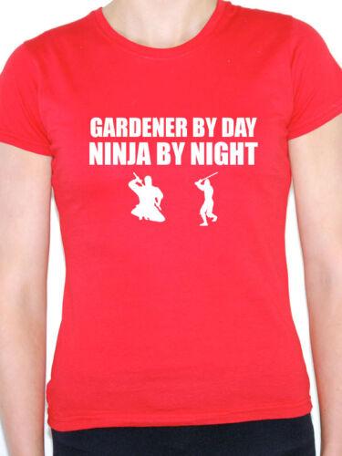 Jardinier par jour NINJA BY NIGHT-jardin creuser fun T-shirt femme à thème