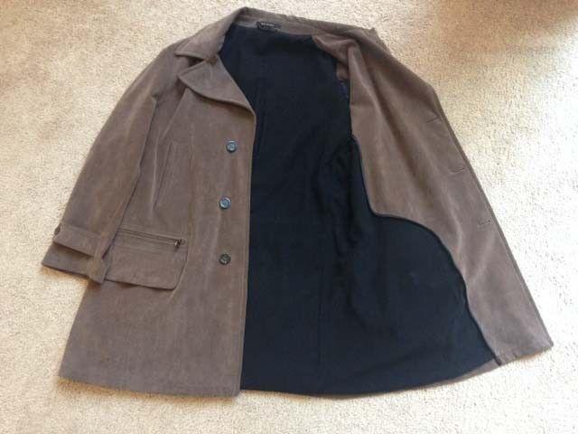 Armani Collezioni Faux Uomo Car Cappotto, Faux Collezioni Suede, Light marrone, Size 46 993f93