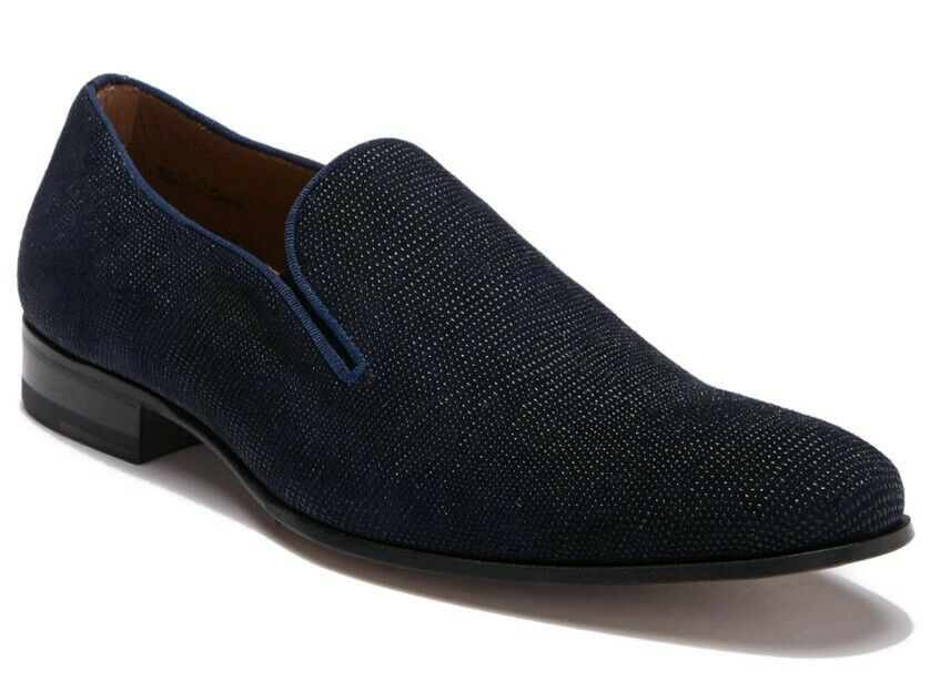 NEW Mezlan Mens 8.5 Embossed bluee Suede Venetian Loafer Slip On Dress shoes  325