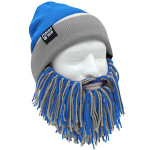 ee289207 Details about Detroit Lions Blue Grey Knit Football Beard Ski Face Mask &  Winter Hat NEW +