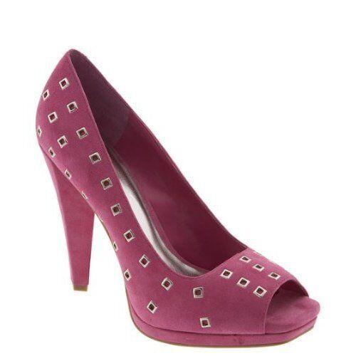 BCBGirls 'Border' Pink Suede Open Toe Heels Sz 9 B