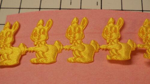 2m Yellow,Bunny Motif Satin Lace Ribbon Applique,Trimming,Wedding