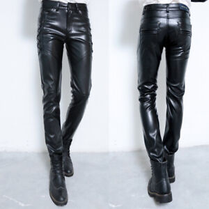 Men-039-s-PU-Leather-Skinny-Long-Pants-Leather-Motorcycle-Biker-Slim-Fit-Trousers