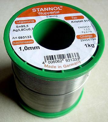 3 m Stannol Kristall 511 Lötzinn 0,5mm 5-seelig Sn95,5 Ag3,8Cu0,7 bleifrei