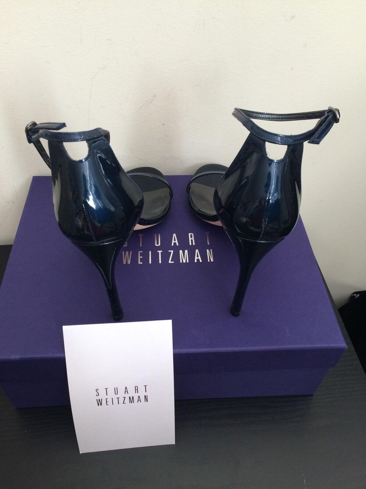 NIB  398 Stuart Stuart Stuart Weitzman Nudistsong Patent Leather Sandals Jet bleu 8 dd78b8