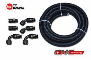 AN6-12FT-Braided-Black-Nylon-E85-PTFE-Fuel-Hose-E85-Fuel-Fitting-Kit