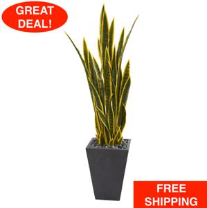 4.5' Sansevieria Artificial Plant Slate Planter Pot Desert Ornamental Succulent