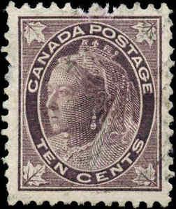 1897-Used-Canada-10c-F-VF-Scott-73-Queen-Victoria-Maple-Leaf-Stamp