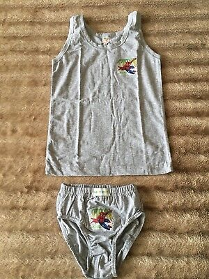 03e89a0df600 NEW GREY BOYS SPIDERMAN UNDERWEAR SET-VEST+PANTS-100%COTTON-5-6YRS ...