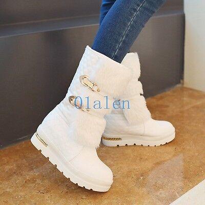 Winter Womens Furry Warm Mid-Calf Boots Fur Hidden Wedge Heels Shoes Pull On Hot