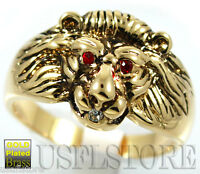 Lion Head Ruby Red Eyes Gold Ep Mens Ring