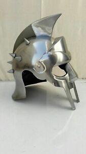Medieval SPike MAXIMUS GLADIATOR HELMET 300 MOVIE HELMET+FREE LINER LARP Silver
