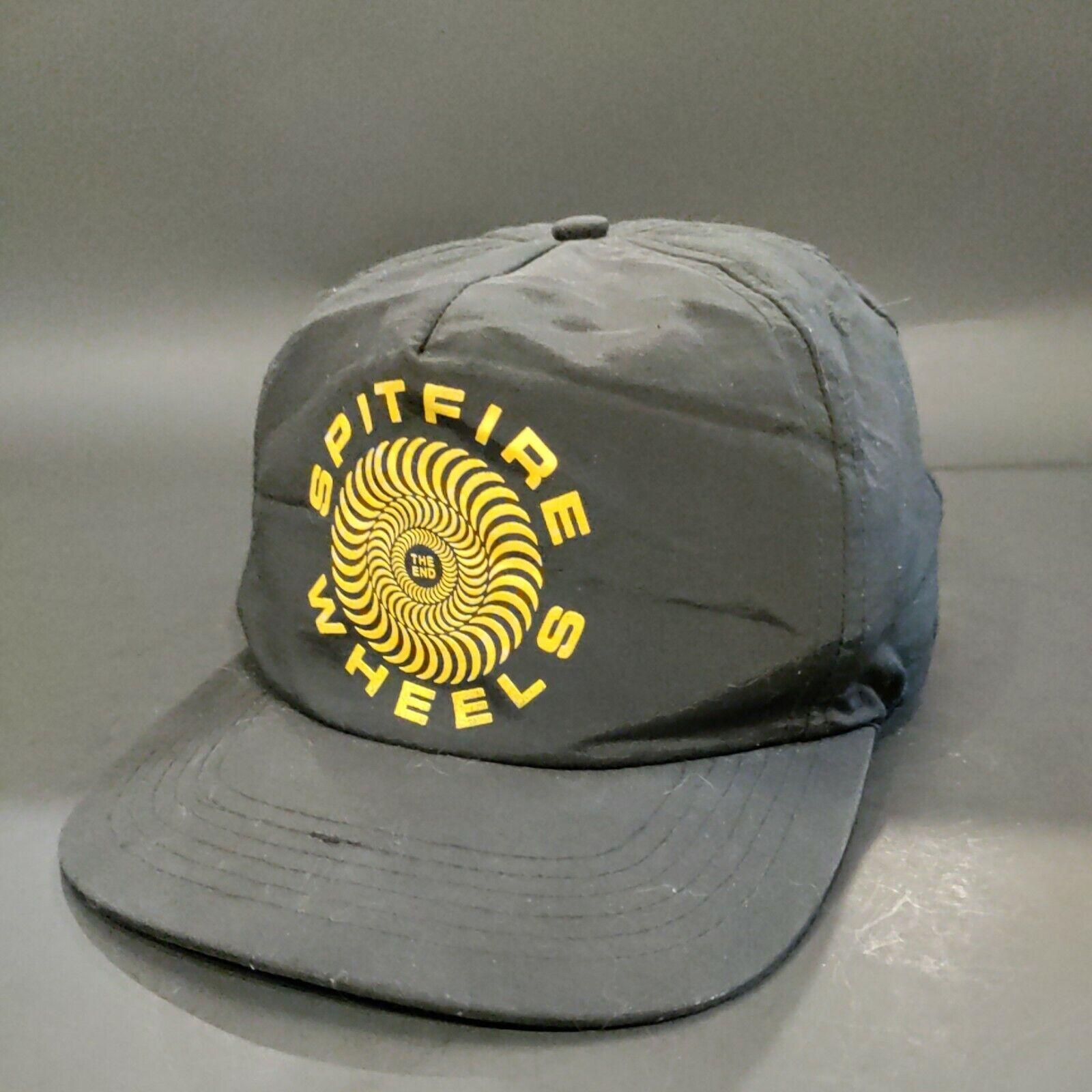 VTG 90s SPITFIRE Wheels Skater Thrash Punk Black Nylon Snapback Hat Cap