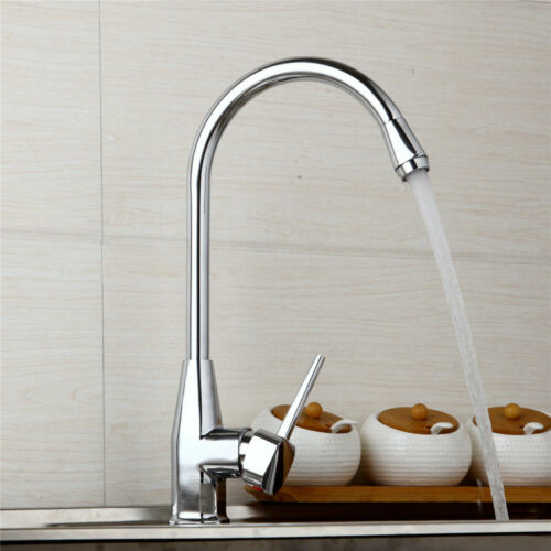 US Single Hole Lever Swivel Spout Kitchen Sink Faucet Mixer Tap Deck Mounted