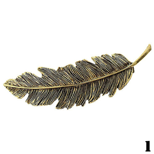 Frauen Silber Gold   Feder Haar Clip Haarnadel Haarspange Haarspangen H T7G8