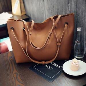 Women-PU-Leather-Shoulder-bag-Tote-Purse-Handbag-Crossbody-Satchel-Brown