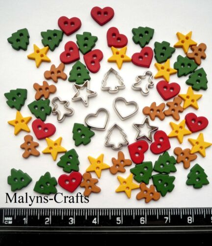 COOKIE CUTTERS Craft Buttons  1ST CLASS POST Gingerbread Men Food Christmas