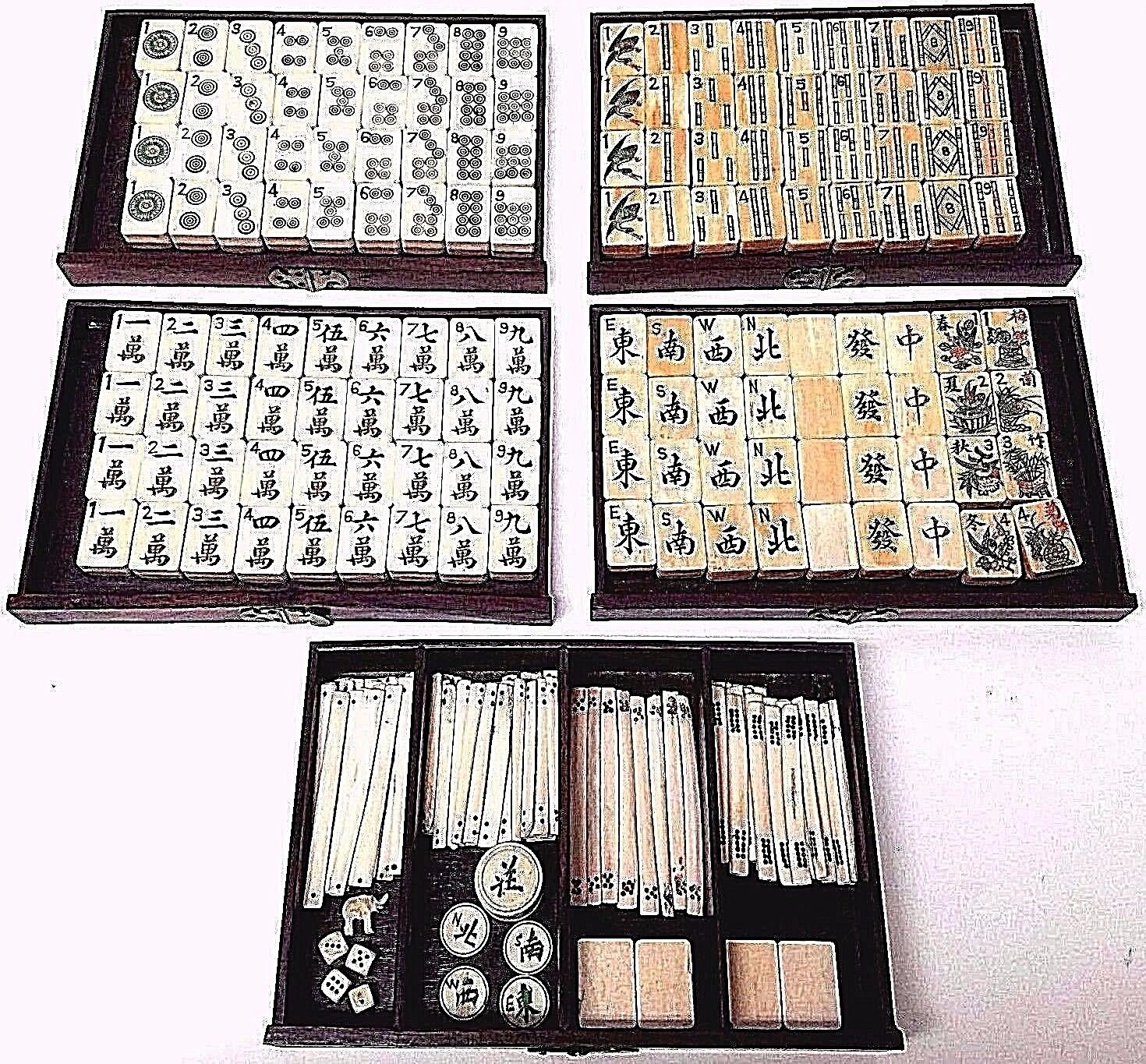 Vintage Antique Mah Jongg Mahjong Game Set Wood Box - 148 Bone Bamboo Tiles