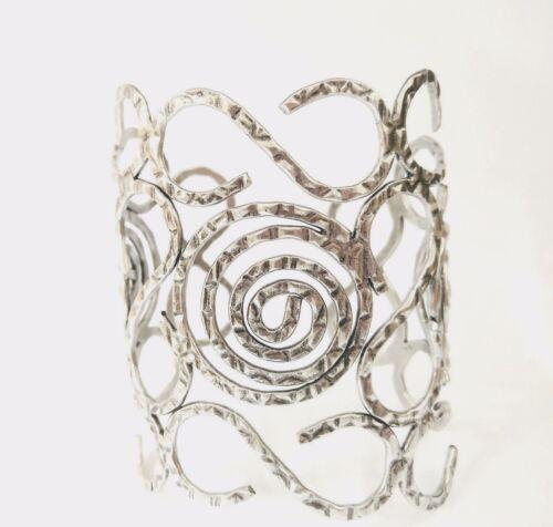 "Fashion Punk Wide Swirl /""S/""Style Silver Tone Notched 4 1//4/""Wide Cuff  Bracelets"