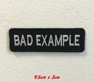 Bad-Example-Biker-Art-Badge-Iron-on-Sew-on-Embroidered-Patch