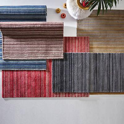 natural 100/% lana en Varios Tamaños Alfombra Rayas Finas por origen verde azulado gris rojo