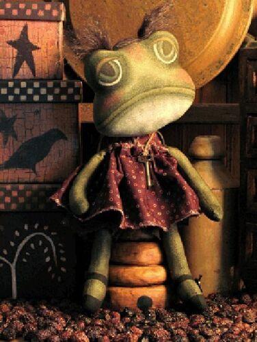 PATTERN Primitive Frog Doll Pattern Odd Frog Art Doll FREE SHIPPING